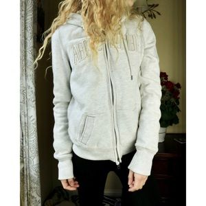 LIKE NEW Abercrombie & Fitch White Faux Fur Hoodie